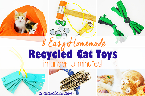 Make these 8 super easy homemade recycled cat toys in less than 5 minutes with repurposed materials you already have in your home! So much DIY fun for your favorite feline! #diycattoys #easycattoy