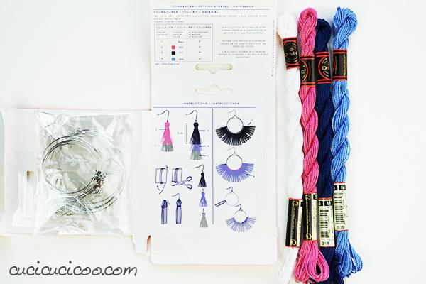 DMC kit per orecchini da usare con il filato cottone perlé