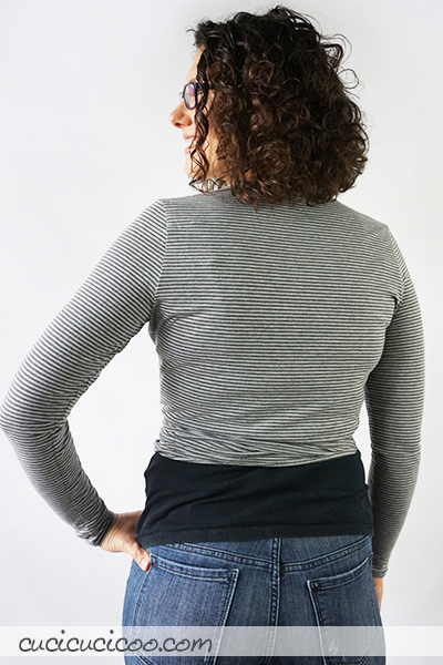 The Clara wrap crop top sewing pattern is a trendy and simple cross-front shirt in knit fabric, perfect for layering over camisoles and summer dresses! #sewingpattern #shirtpattern