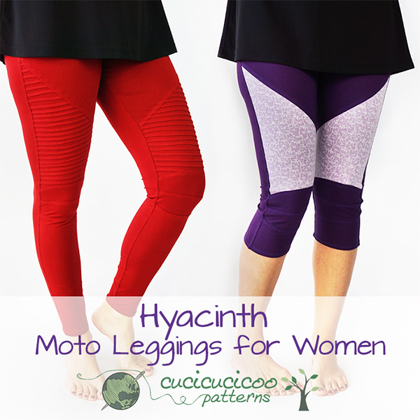 The new Hyacinth Moto Leggings for Women pattern by Cucicucicoo Patterns. Included in the Sew Fab 2019 spring sewing pattern bundle! #sewfab #patternbundle