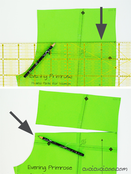 Learn how to adjust the crotch in pants for a perfect fit! Simple pattern alterations avoid pulled or baggy fabric along your bum or crotch curves, making you look the best you can! - correcting the front rise - #patternadjustment #crotchcurve