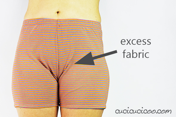 Learn how to adjust the crotch in pants for a perfect fit! Simple pattern alterations avoid pulled or baggy fabric along your bum or crotch curves, making you look the best you can! - scooping out the front crotch curve to eliminate excess fabric - #patternadjustment #crotchcurve