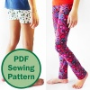 The Simple Leggings pattern for girls allows you to sew unique clothing for your daughter, niece or other favorite gal! Super easy, perfect for beginners, with all the tips and tricks you need to know for sewing stretchy knit fabrics perfectly! #leggingspattern #sewforgirls