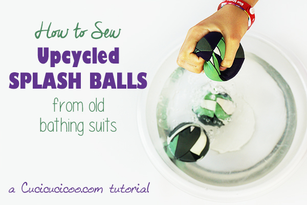 Learn how to sew splash balls with this free pattern and your old worn out swimwear! Fun summer play for kids in or out of the pool. Drop them in water and throw them at your opponent (or a wall or the ground) for a satisfying and cool splash! #diypooltoy #splashball