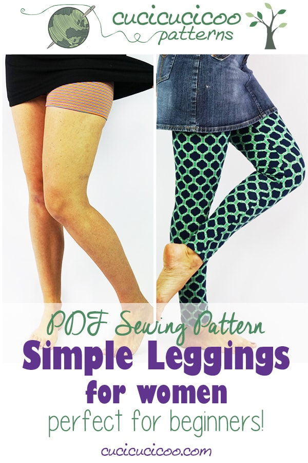 Learn to sew your own easy clothing with the Simple Leggings pattern for Women by Cucicucicoo Patterns! Perfect for beginners to make a DIY wardrobe! Print the PDF pattern at home or in a copy shop and start sewing immediately! #leggingspattern #sewleggings