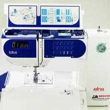 Impara come infilare la Elna Lotus macchina da cucire elettronica per sarti principianti ed esperti, con la sua forma e il portarocchetto particolari, e inizia a cucire su un pezzo di design! #cucire #macchinadacucire