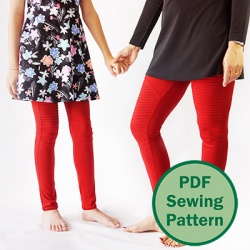 The moto leggings PDF pattern for both girls AND women, from age 2 and up, the Hyacinth leggings bundle has a total of 23 sizes, each with length and waist options, as well as two views for the thigh insert. What more could you ask for?! #sewleggings #motoleggings #pdfsewingpattern