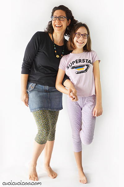 Use the Simple Leggings sewing pattern for ladies and girls bundle to sew leggings for every gal you know! 23 sizes with options for 3 lengths and 2 waist heights for the perfect leggings for each girl or woman and every season of the year! #diyclothes #handmadewardrobe