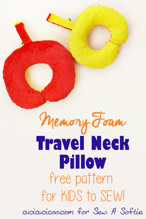 Kids love sewing and it's easy with this neck pillow template pdf download! The free sewing pattern includes two sizes + carry strap, and is a fantastic and easy project for kids to sew by hand! Everyone loves travel neck pillows, and now you can make a customized one! #diypillows #neckpillowpattern #diyneckpillow #diytravelpillow