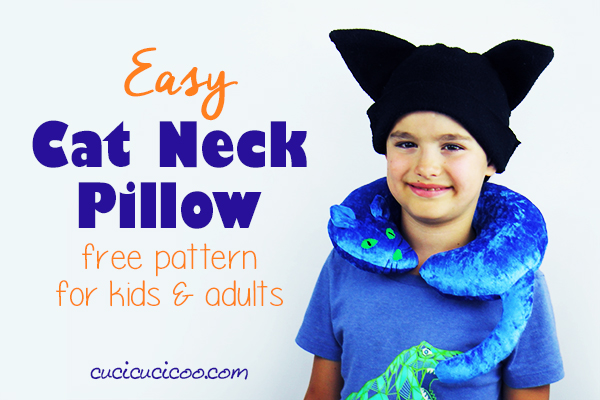 Do you fancy felines? Use this FREE cat neck pillow pattern to sew a travel pillow with adorable perky ears, a wobbly tail, contrast eyes and embroidered whiskers. Perfect for travelling with the whole family! #catpillow #neckpillowpattern #handmadecat