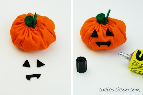 Glue the eyes on a simple DIY Jack O Lantern stuffed toy. A perfect Halloween craft project for kids! #halloweencraftforkids #halloweenkidcraft