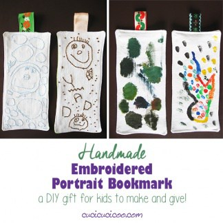 Make a handmade bookmark with a portrait as a DIY gift! Your child draws the picture and you embroider over it, or the child just paints directly on the fabric. The DIY fabric bookmark is a fun homemade gift that will be a favorite among family and friends! #giftsbykids #diyfabricbookmark