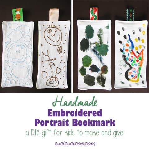 Handmade Embroidered Bookmark with a Kid- Drawn Portrait