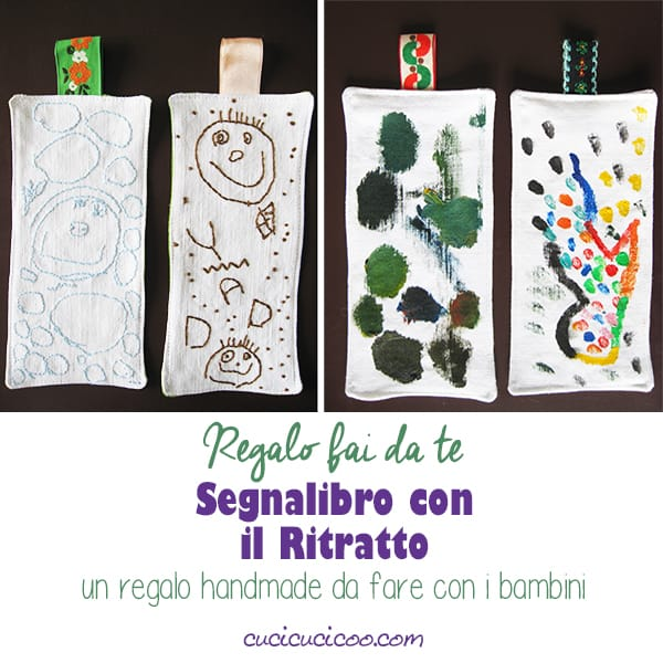 Realizza dei segnalibri fai da te con dei ritratti disegnati da bambini! Ricama sopra il disegno e cuci il tessuto per un regalo handmade per famiglia e amici! #regalifaidate #ricamo