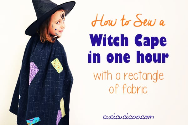 Beginner sewists can learn how to sew a witch cape with a rectangle of fabric in just 1 hour! All you need are basic sewing skills, black fabric, scraps and some ribbon! #diywitchcostume #diyhalloweencostume