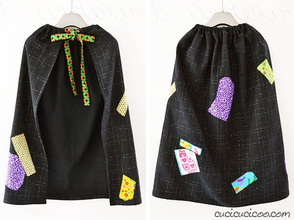 "A simple rectangle of blakc fabric can make a great witch cape for your DIY Halloween costume! Just add scrap ""patches"" and a ribbon around the neck to hold it on. #diywitchcostume #diyhalloweencostume"