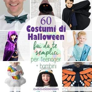 Divertiti e risparmia soldi con questi 60 costumi di Halloween fai da te facili per teenagers e bambini. Alcuni di questi migliori travestimenti handmade per 2019 richiedono abilità di cucito di base, altri solo un po' di colla! #halloweenfaidate