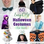 Embrace a handmade lifestyle and have fun with these 60 easy DIY Halloween costumes for teens and kids. Some require basic sewing skills, others just glue skills! Your children of any age will love these simple handmade costumes! #diyhalloweencostumes #handmadehalloweencostumes
