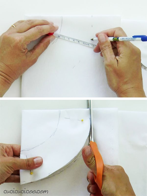 Preparing the heavy weight interfacing to sew the rigid collar of this easy DIY Halloween vampire cape.