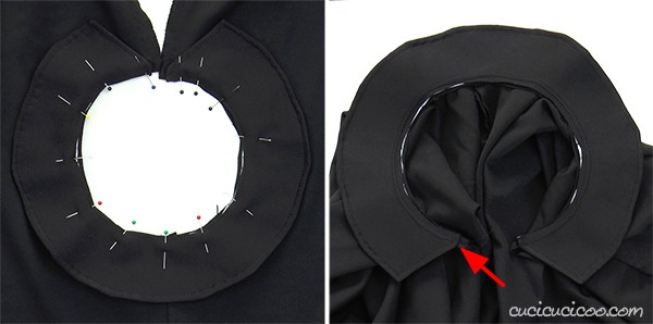 Join the rigid collar to this easy DIY Halloween cloak. A fun handmade vampire costume! #diycostume #halloweencostumetutorial #halloweencostumediy