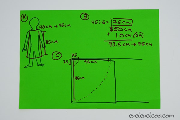 Calculate the measurements to sew an easy Halloween cloak with a rigid collar