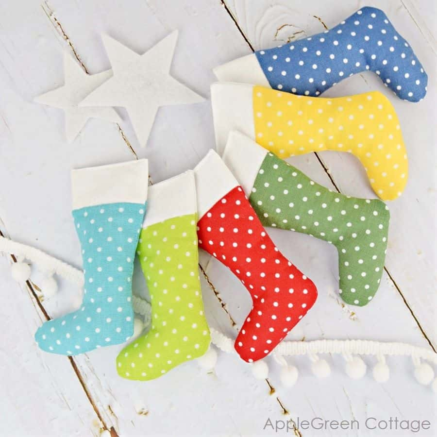 Colorful mini stockings to hang from the tree or on a garland