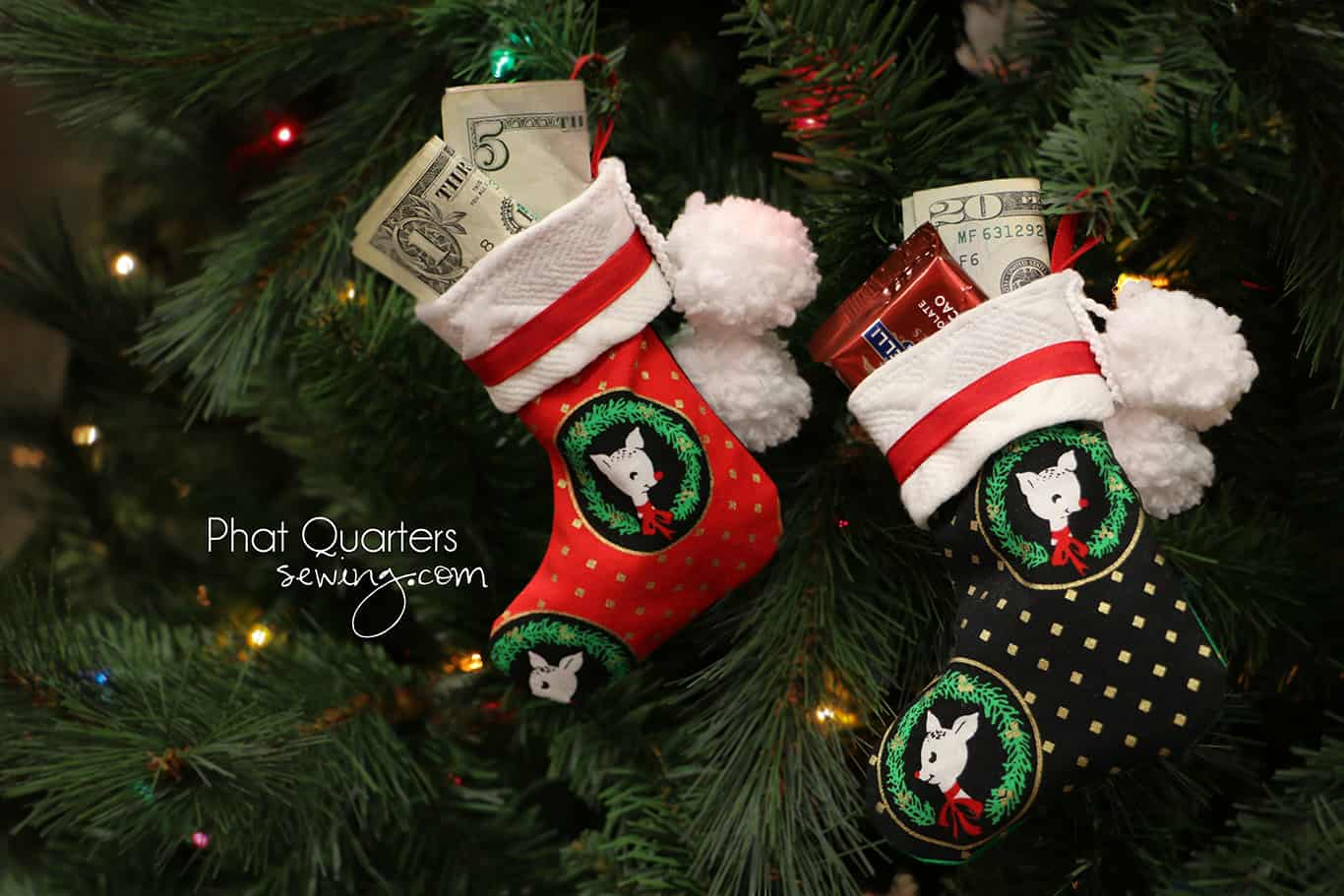 Small Christmas stockings for giving money and gift cards