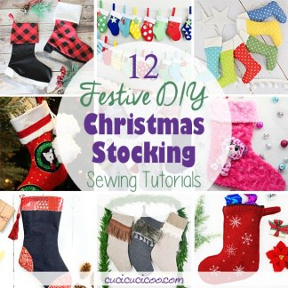 Show some homemade holiday cheer this year with these 12 DIY Christmas stocking sewing tutorials! There are stockings to hang and fill, and smaller ones to decorate your home! #diystocking #stockingtutorial