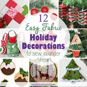 These 12 easy holiday decorations to sew will let you get in on DIY Christmas and holiday cheer in less than one hour! Simple handmade projects for beginners to sew by hand or with a sewing machine. #handmadechristmas #christmassewing