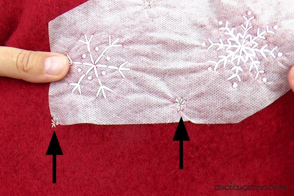 Embroider snowflakes with a free embroidery pattern.