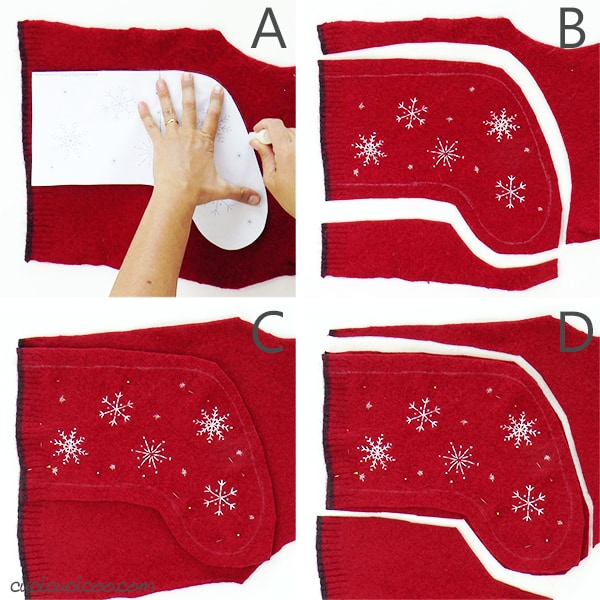 Cutting out the two layers of felted wool sweater to sew an embroidered Christmas stocking.