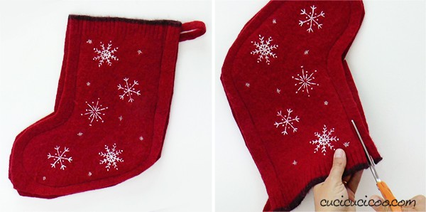 Sew around the edges of the felted wool sweater Christmas stocking, then trim the edges with fabric shears.
