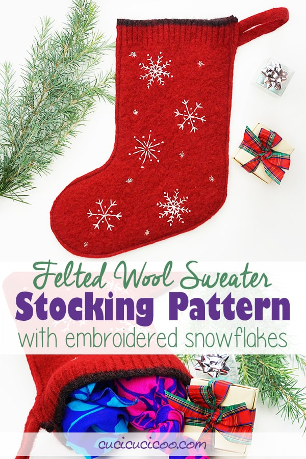 Sew this DIY felted wool sweater stocking pattern with embroidered snowflakes. These beautiful handmade stockings can be sewn by hand or machine! #diystocking #stockingpattern