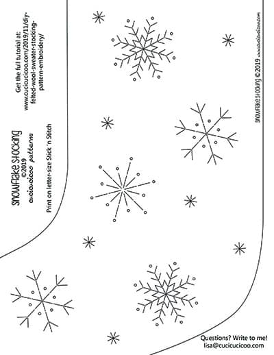 Free embroidery template for the Christmas stocking from felted wool sweaters. www.cucicucicoo.com