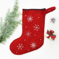 DIY Felted Wool Sweater Stocking Pattern with Embroidery