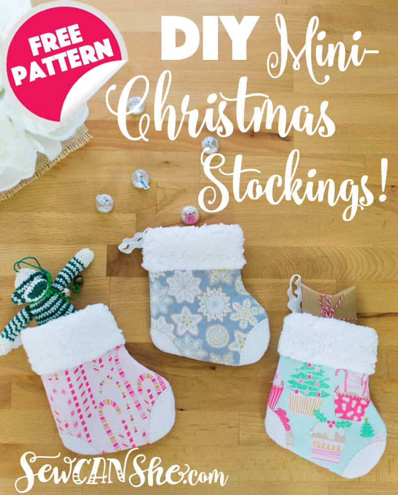 Free sewing pattern for mini Christmas stockings