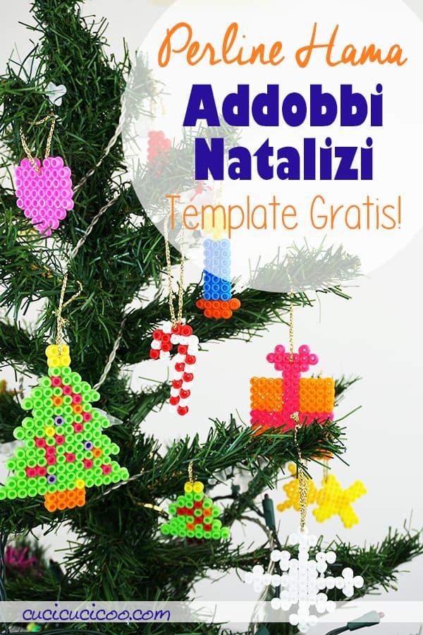 Realizza addobbi di Natale handmade con questi schemi natalizi con hama beads o perline Pyssla! Un craft natalizio perfetto per i bambini! #pysslanatale #schemipyssla