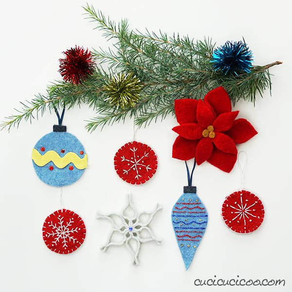 Gorgeous handmade Christmas tree ornaments created from repurposed felted wool sweaters! Get all the tutorials on www.cucicucicoo.com! #diyornament #feltornament