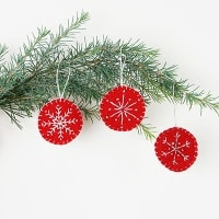 DIY Snowflake Embroidered Felt Christmas Ornaments