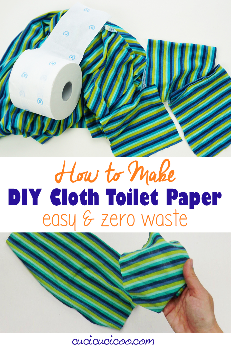 No more toilet rolls left? Don't panic because it's super easy and FREE to make your own DIY cloth toilet paper! Recycle your old sheets and Tshirts without sewing and treat your body and the environment right. Reusable toilet tissue is actually easy to take care of and will never run out! #reusabletoiletpaper #nowaste