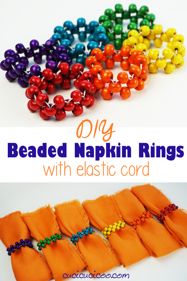 Create a set of DIY beaded napkin rings with rainbow colored beads for a happy table and an easy way to colour code your family's cloth napkins! What an awesome handmade gift along with some homemade cloth napkins! #rainbowhome #diynapkinrings