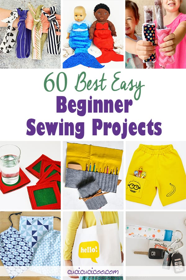 If you're just learning how to sew, these 60 easy beginner sewing projects are just what you need! The basic techniques and simple instructions are at your level and will let you make unique clothes, home décor, toys, and more! #easysewing #sewingprojectsforbeginners