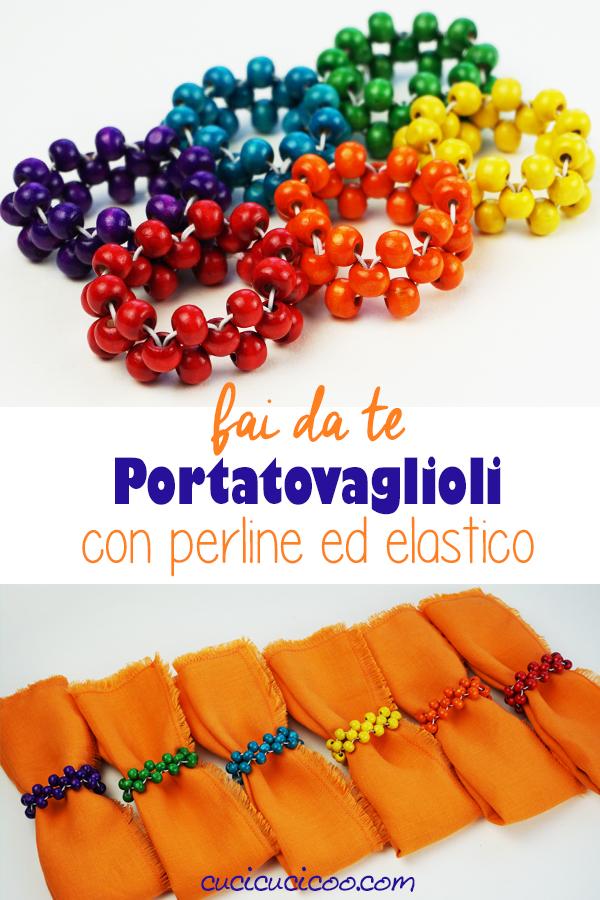 Crea un set di portatovaglioli fai da te con perle di legno nei colori dell'arcobaleno per una tavola colorata e un modo semplice di tenere in ordine i tovaglioli di stoffa della famiglia! Che bel regalo fai da te! #portatovaglioli #tovaglioli #perledilegno
