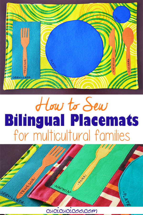 Celebrate cultural awareness with these fun DIY bilingual placemats! The shapes of plates and silverware are labeled in two languages. They're a great way to teach children how to set the table and learn words in a foreign language! #diyplacemat #sewingforhome