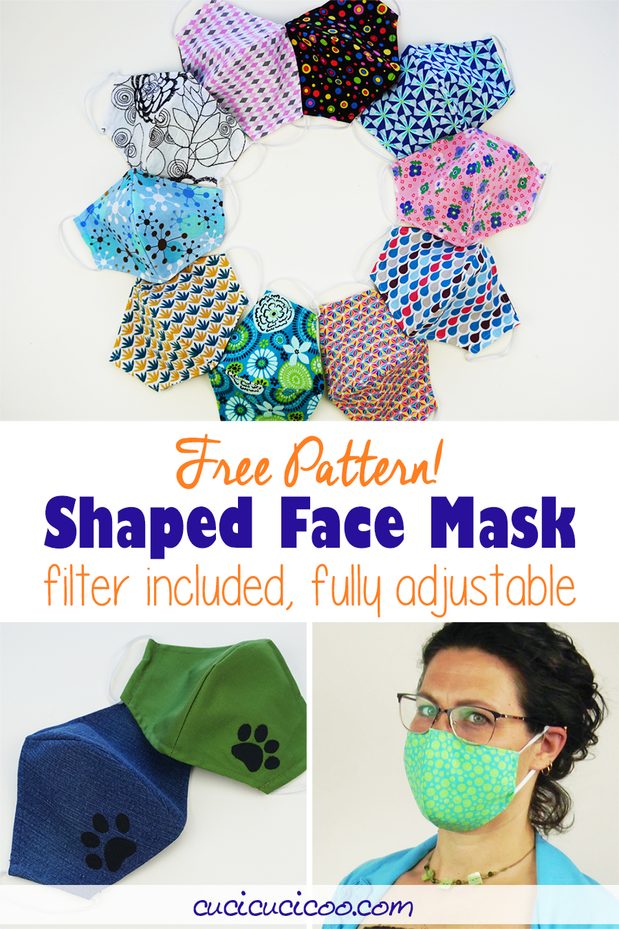 Download a FREE shaped face mask pattern with 3 sizes. This premium face covering is comfortable and fits perfectly with fully adjustable elastic ear loops, optional straps, and a removable nose wire. The pattern includes contoured filters to slip inside the filter pocket. #facemaskpattern #facemasktutorial #diyfacemask