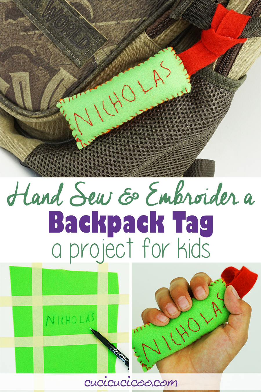 Learn 2 simple hand stitches with this kid embroidery project! Your child can sew a backpack tag with his embroidered name. A great way to customize a school book bag! #kidsewing #kidssew