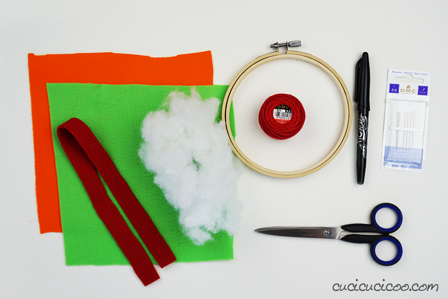 Materials for hand sewing a stuffed school bag name tag