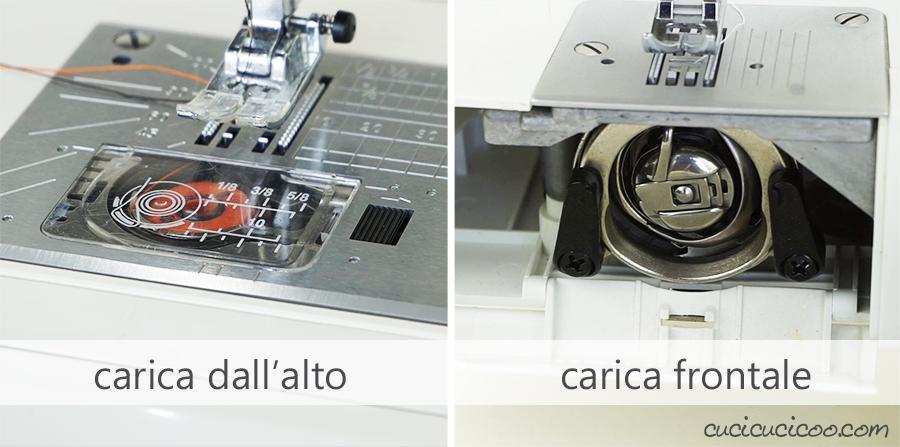 La differenza tra la bobina a carica dall'alto e a carica frontale. Sono due tipologie di macchina da cucire.