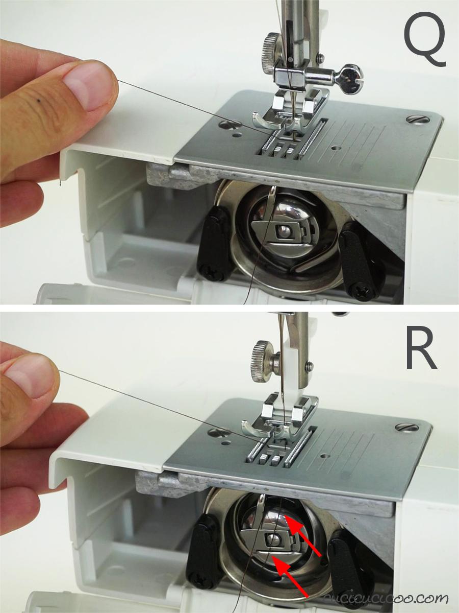 Caricamento della bobina in una macchina da cucire con carica frontale. #cucire #cucito