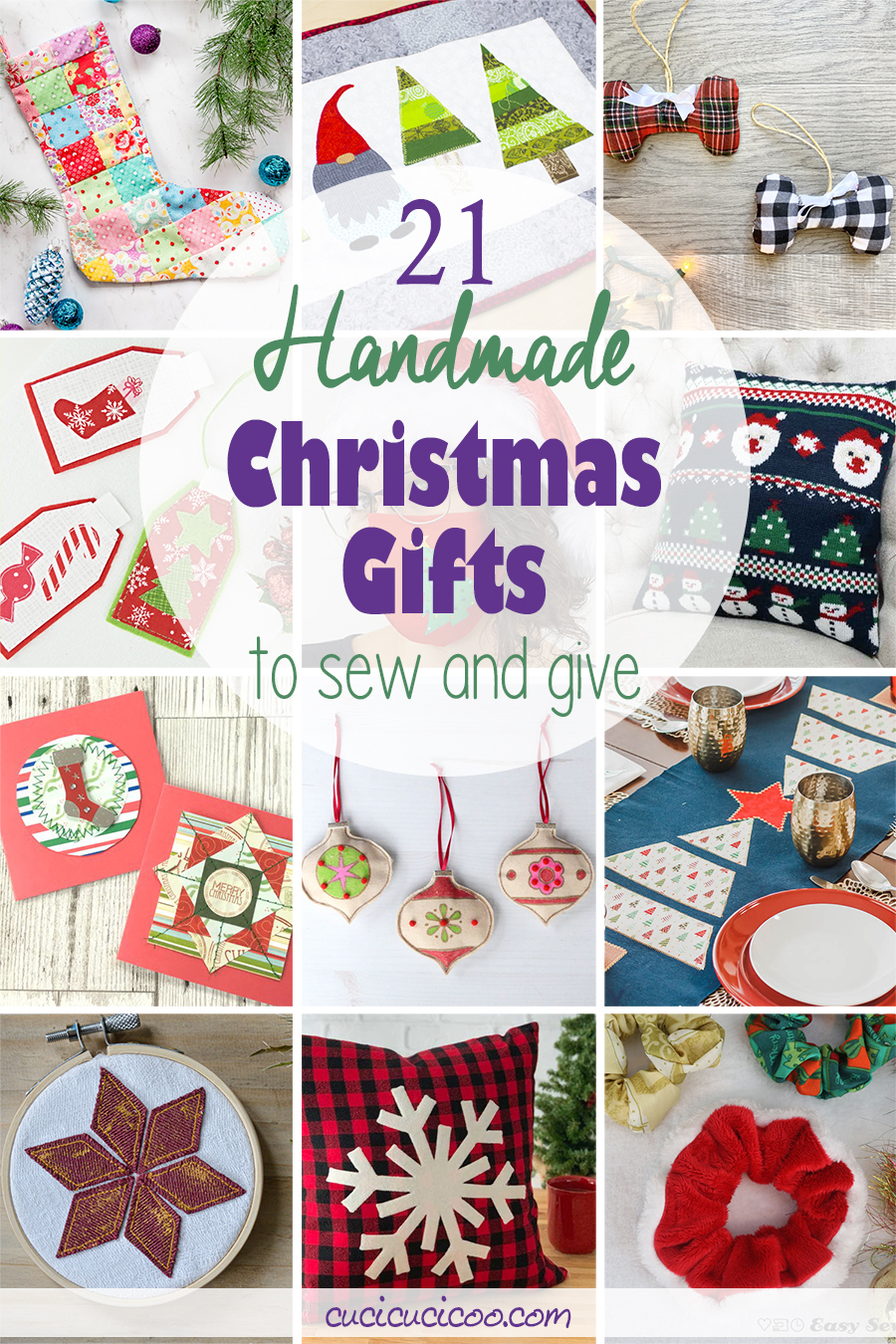 See the best 21 handmade Christmas gifts to sew and give in 2020! Family and friends will love these festive DIY gifts and you'll love sewing them! #diychristmasgifts #christmassewing #handmadechristmas